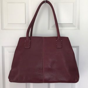 Ann Taylor Red Leather Tote